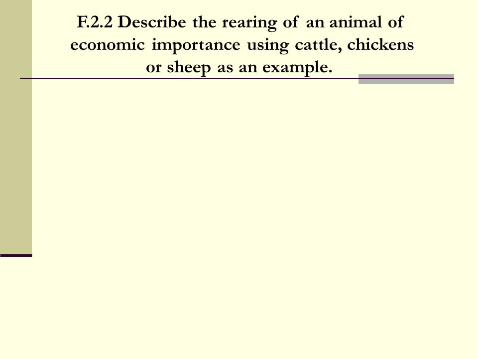 F.2.2 Describe the rearing of an animal of