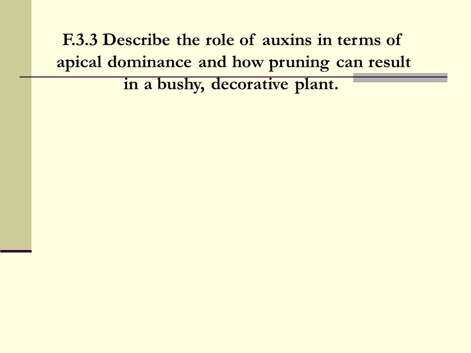 F.3.3 Describe the role of auxins in terms of