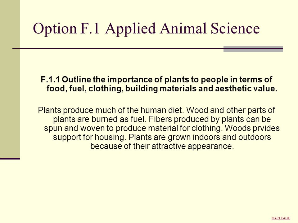 Option F.1 Applied Animal Science