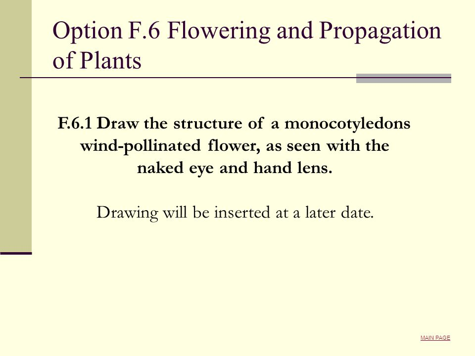 Option F.6 Flowering and Propagation of Plants
