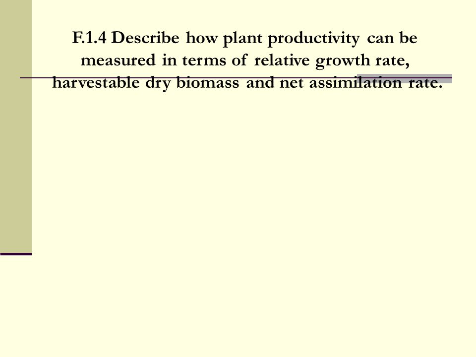 F.1.4 Describe how plant productivity can be