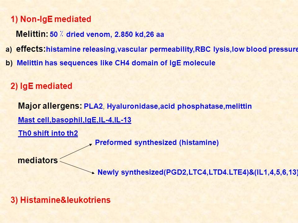 Major allergens: PLA2, Hyaluronidase,acid phosphatase,melittin