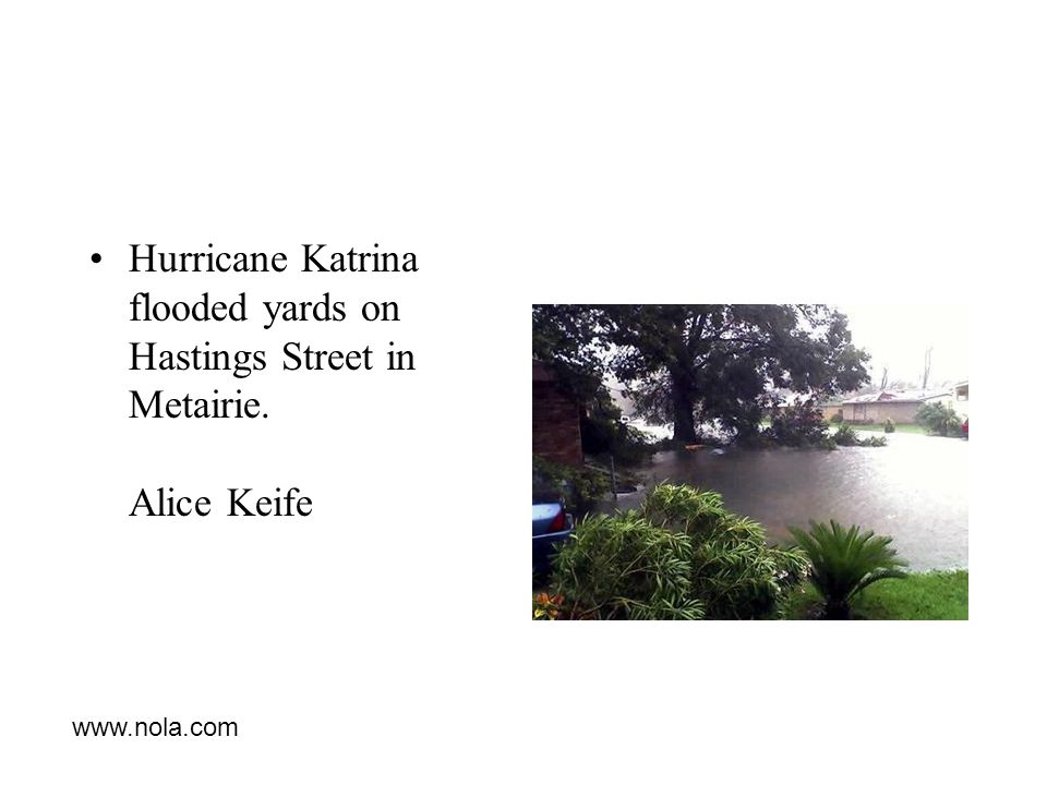 Hurricane Katrina flooded yards on Hastings Street in Metairie