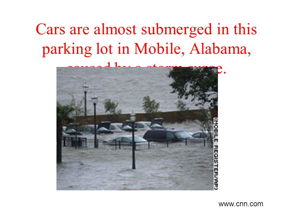 Cars are almost submerged in this parking lot in Mobile, Alabama, caused by a storm surge.