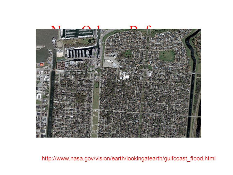 New Orleans Before… http://www.nasa.gov/vision/earth/lookingatearth/gulfcoast_flood.html
