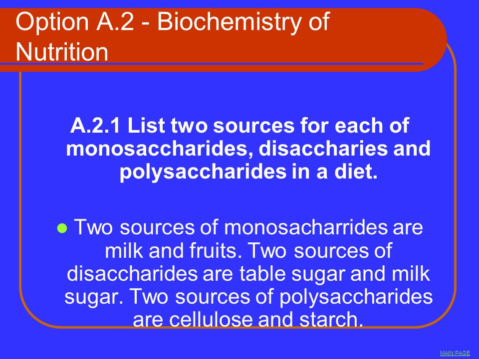 Option A.2 - Biochemistry of Nutrition
