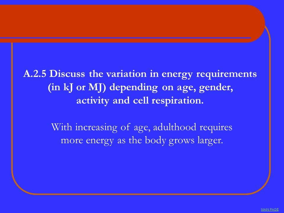 A.2.5 Discuss the variation in energy requirements