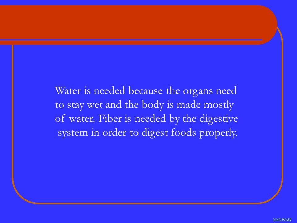 Water is needed because the organs need