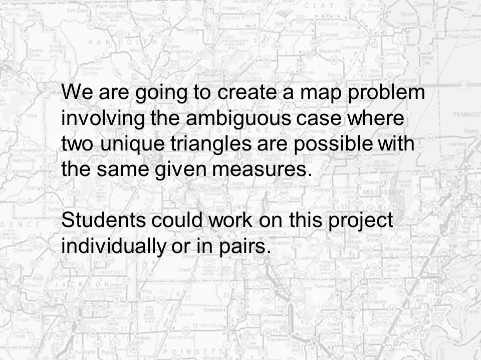 We are going to create a map problem
