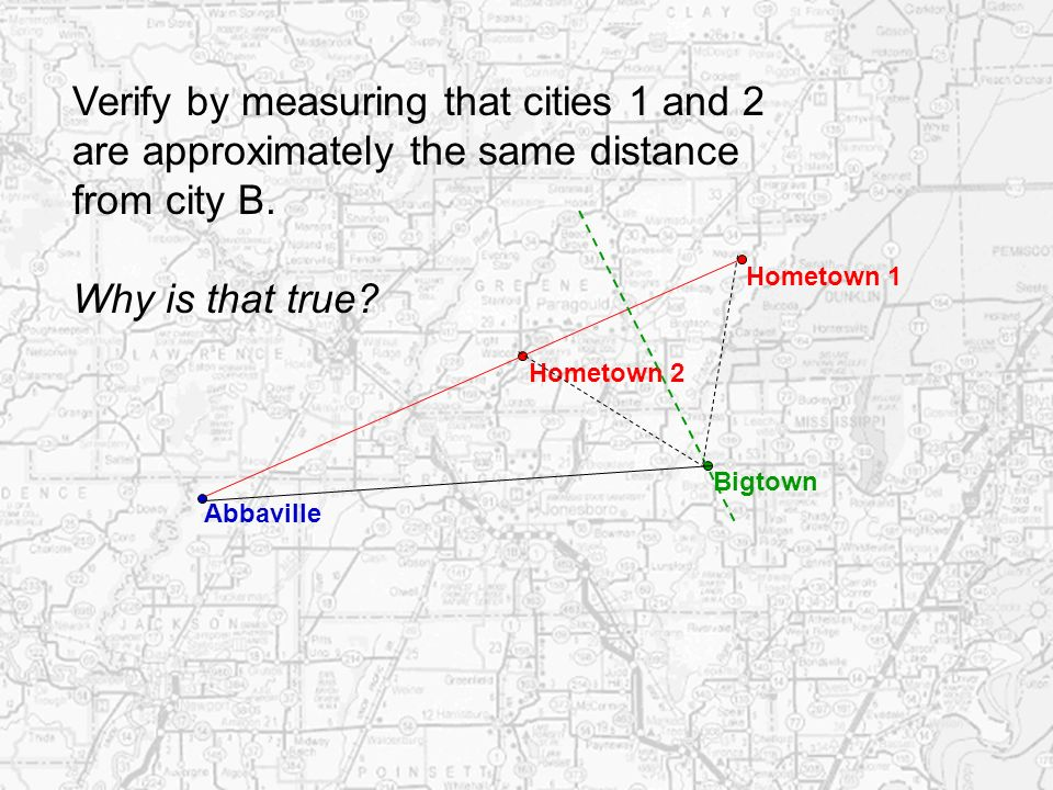 Verify by measuring that cities 1 and 2