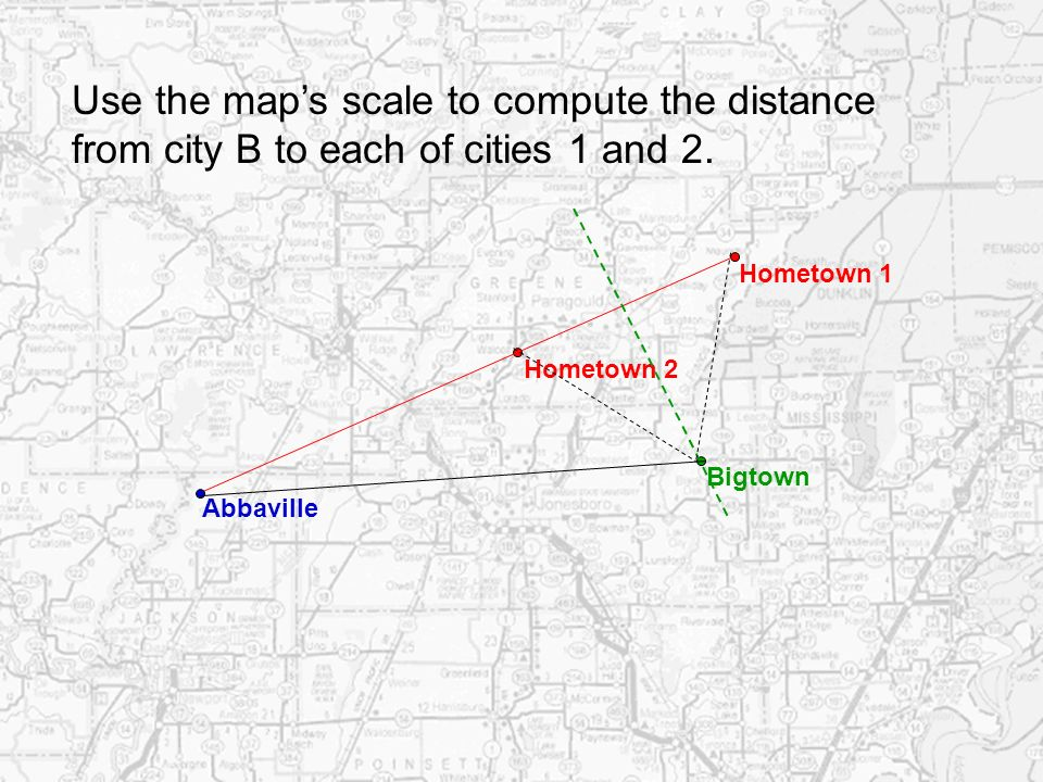 Use the map's scale to compute the distance