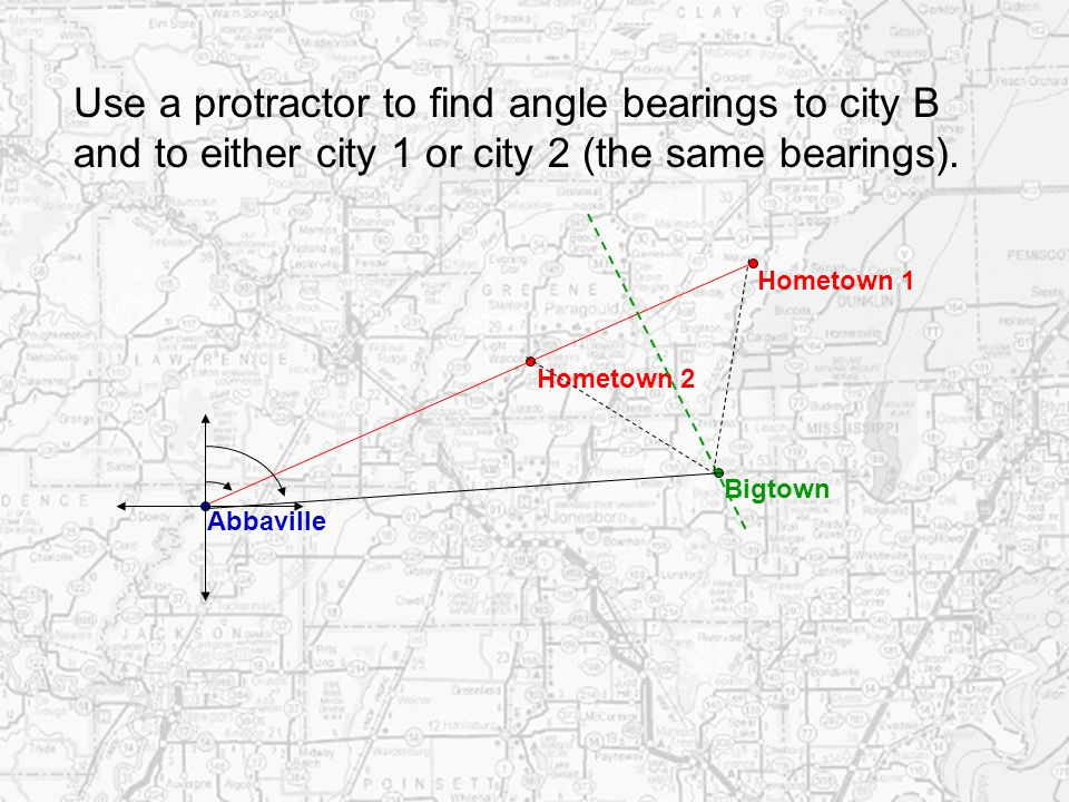 Use a protractor to find angle bearings to city B