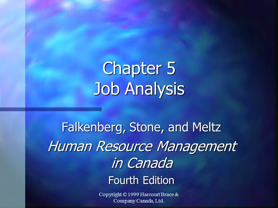 Chapter 5 Job Analysis Human Resource Management in Canada