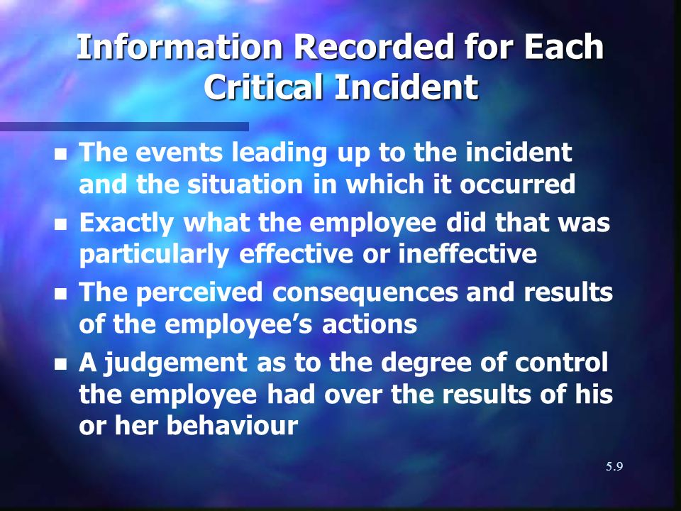 Information Recorded for Each Critical Incident