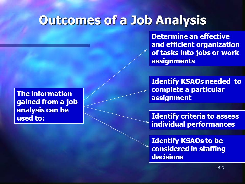 Outcomes of a Job Analysis