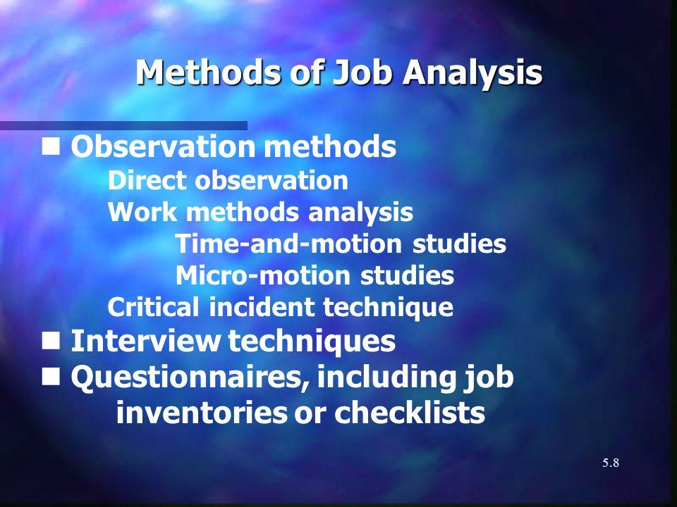 Methods of Job Analysis