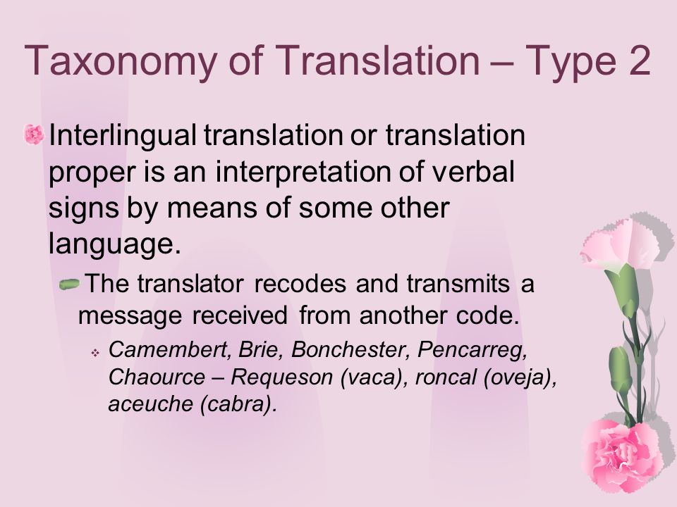 Taxonomy of Translation – Type 2