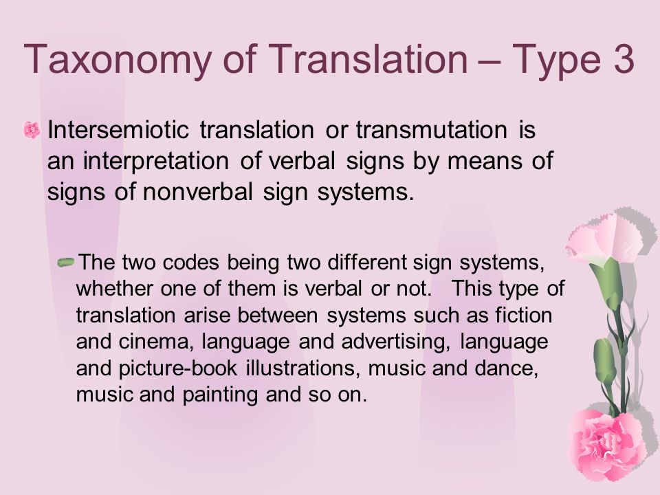 Taxonomy of Translation – Type 3