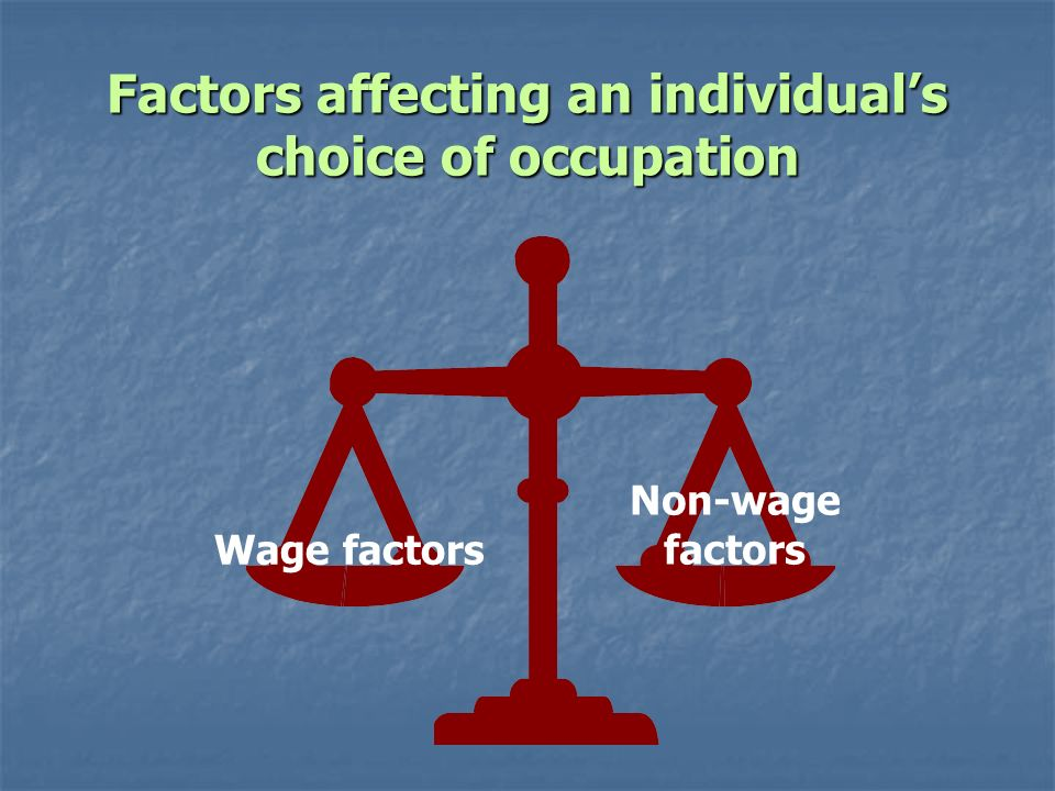 Factors affecting an individual's choice of occupation