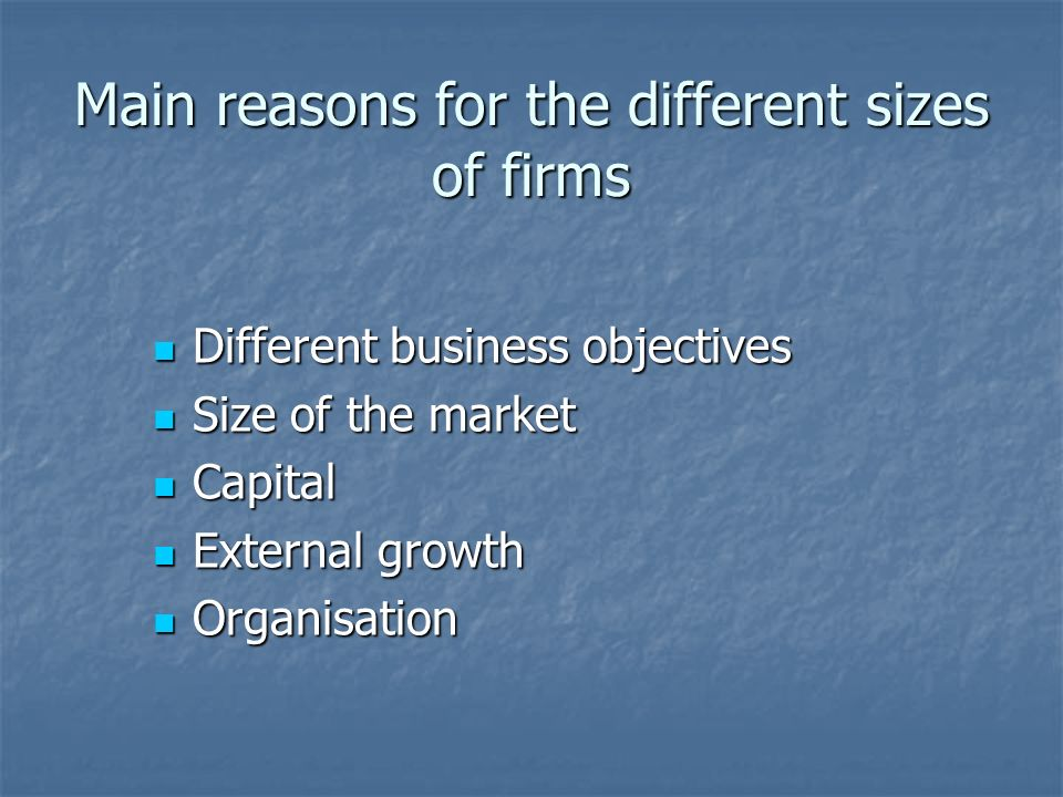 Main reasons for the different sizes of firms