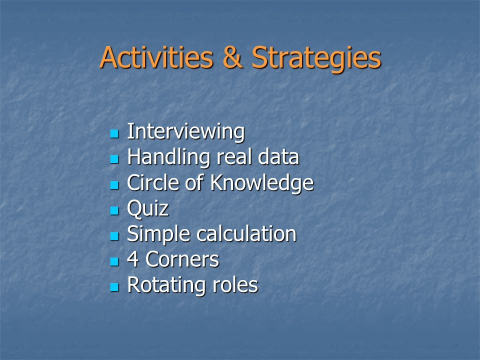 Activities & Strategies