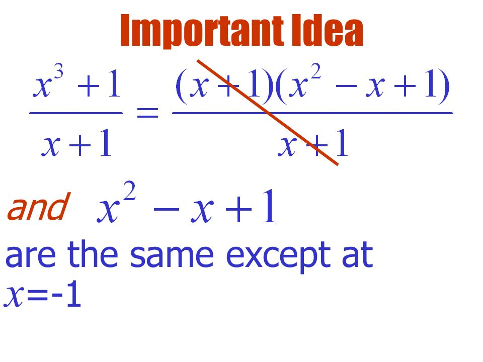 Important Idea and are the same except at x=-1