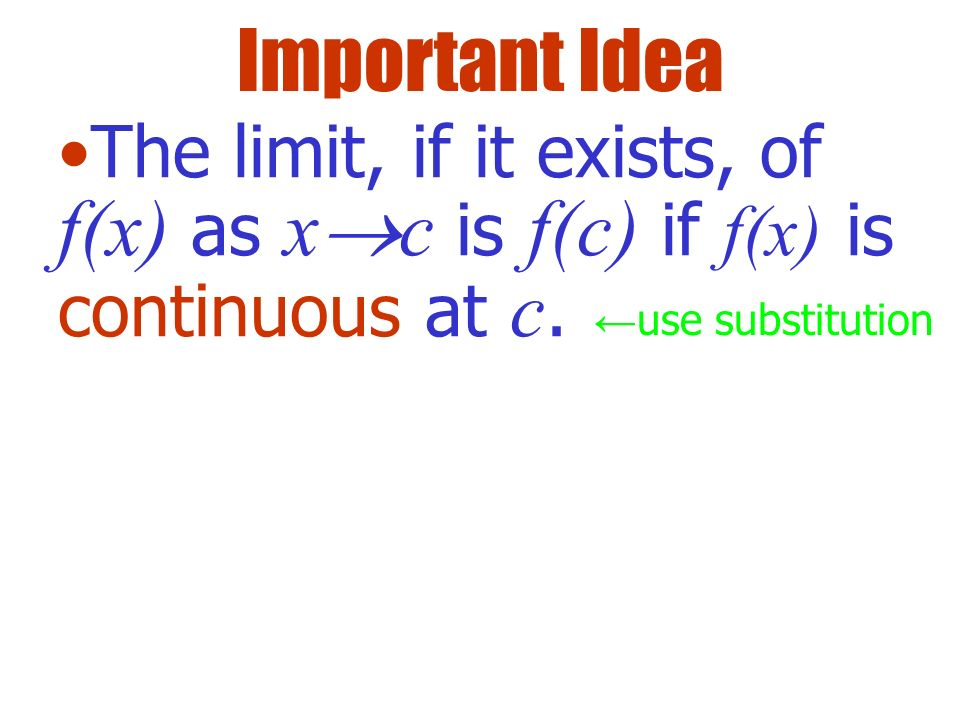 Important Idea The limit, if it exists, of f(x) as xc is f(c) if f(x) is continuous at c.