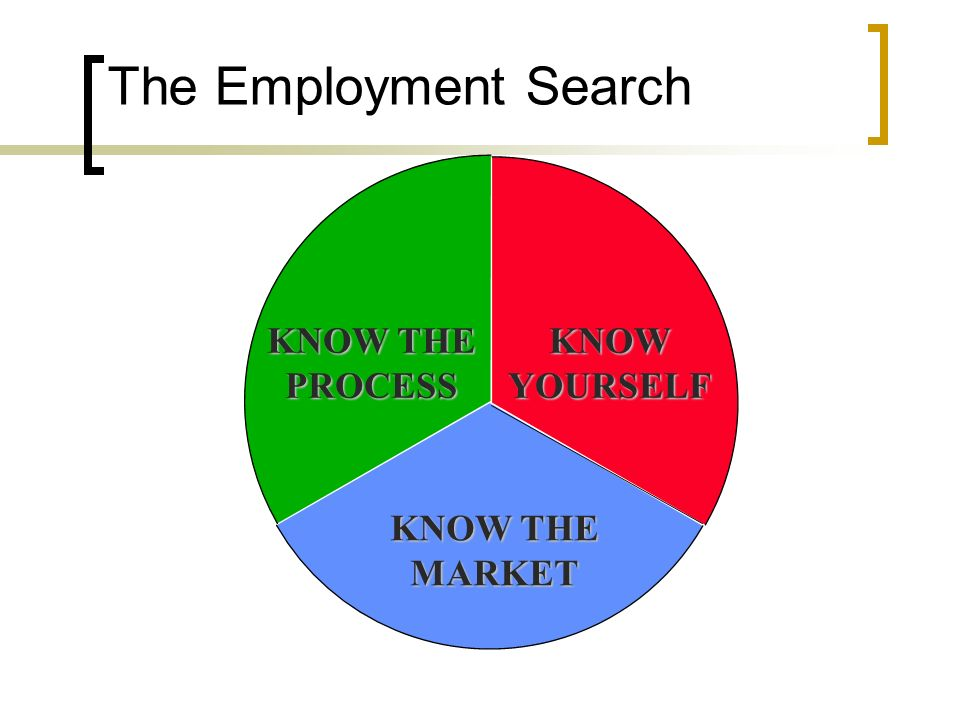 The Employment Search KNOW THE PROCESS KNOW YOURSELF MARKET