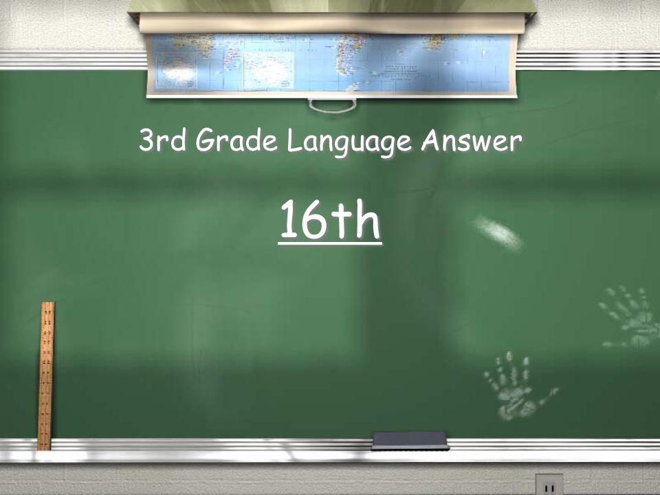 3rd Grade Language Answer