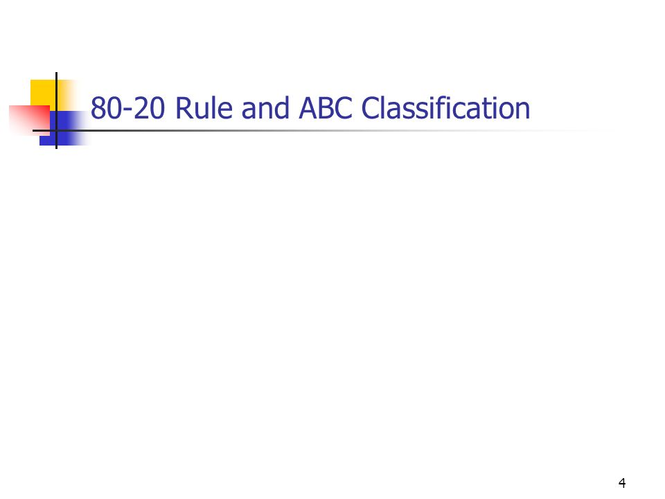 80-20 Rule and ABC Classification