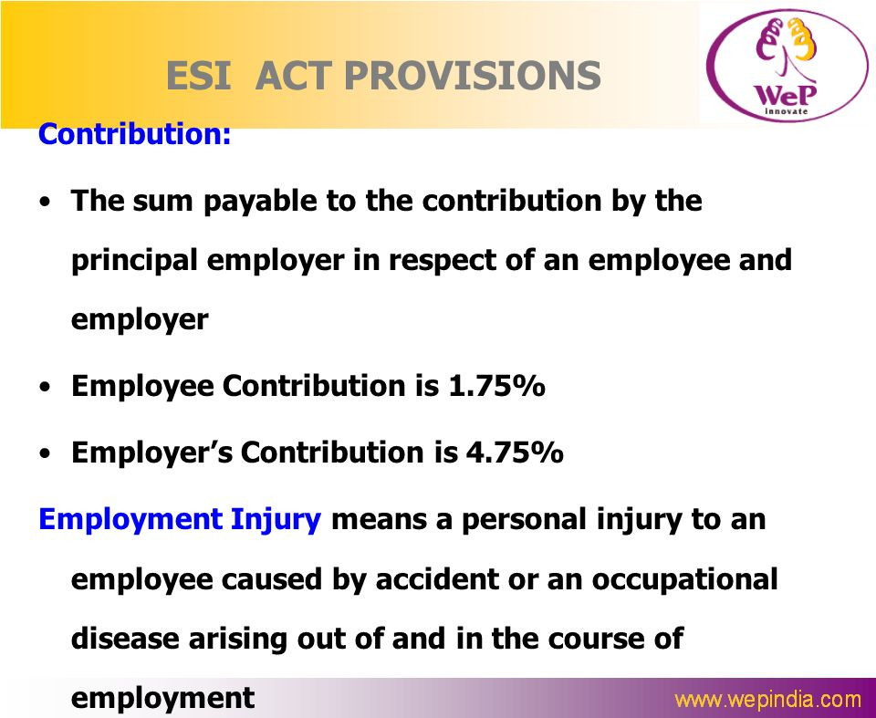 ESI ACT PROVISIONS Contribution: