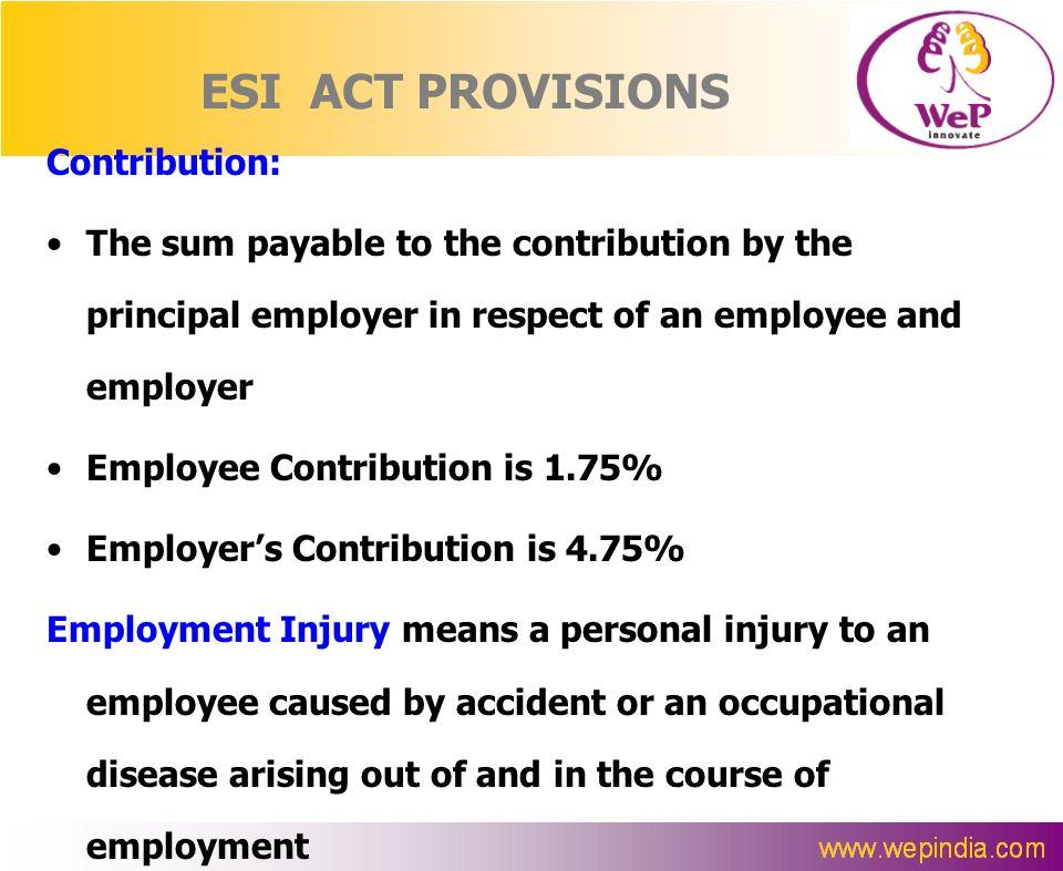 ESI ACT PROVISIONS Contribution:
