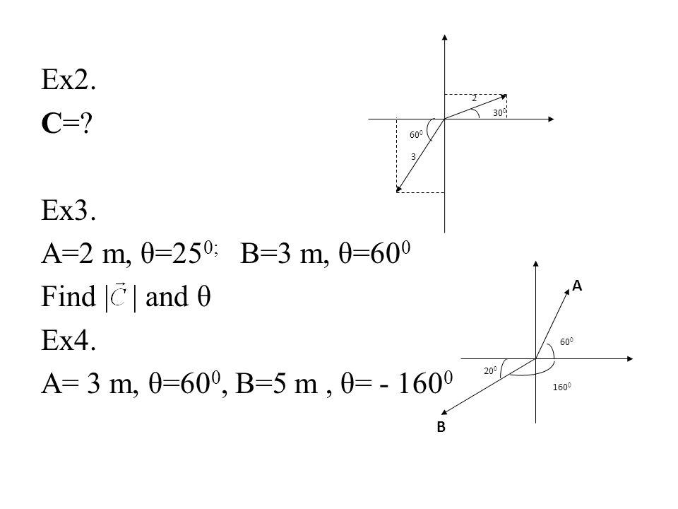 Ex2. C= Ex3. A=2 m, θ=250; B=3 m, θ=600 Find | | and θ Ex4.