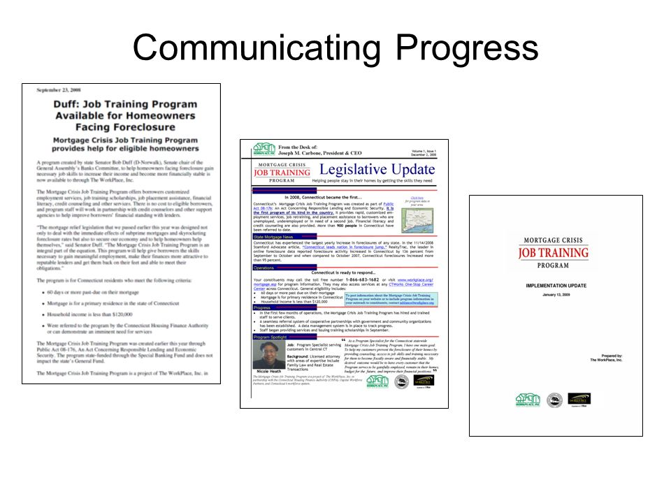 Communicating Progress