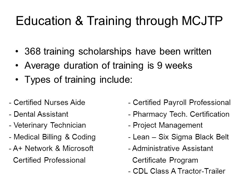 Education & Training through MCJTP
