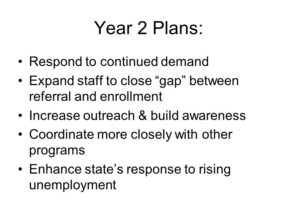 Year 2 Plans: Respond to continued demand