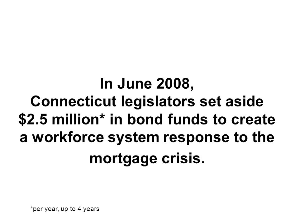 In June 2008, Connecticut legislators set aside $2. 5 million