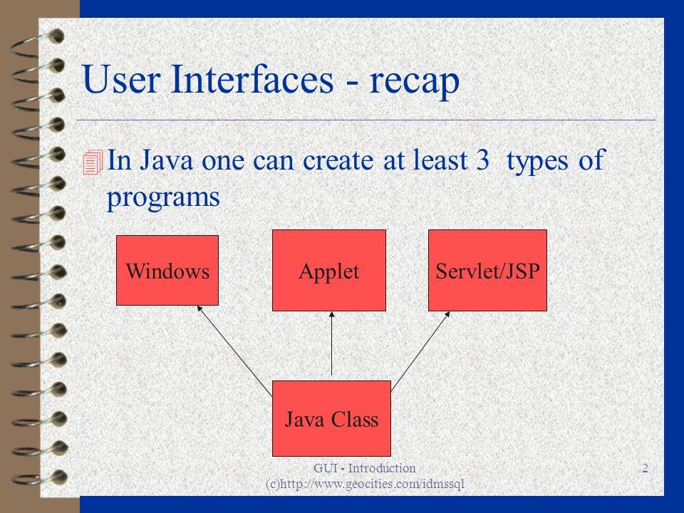 User Interfaces - recap
