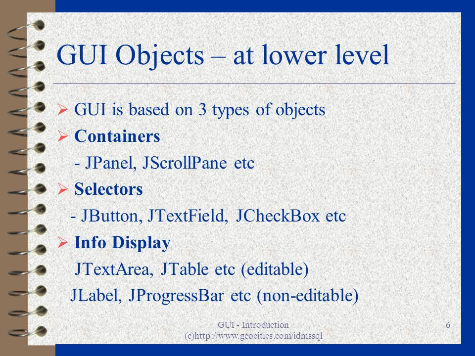GUI Objects – at lower level