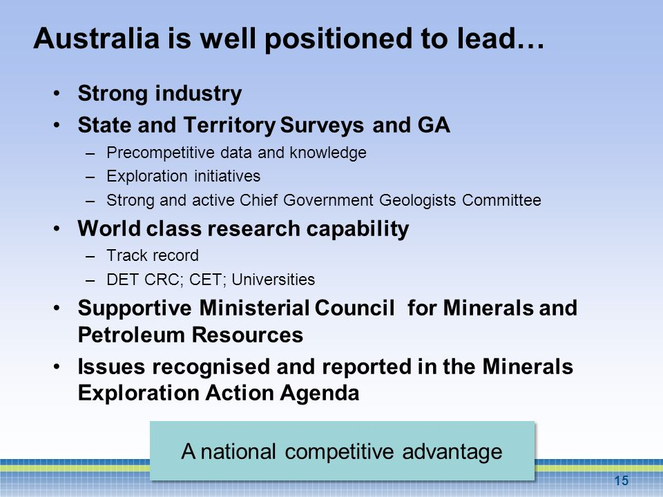 Australia is well positioned to lead…