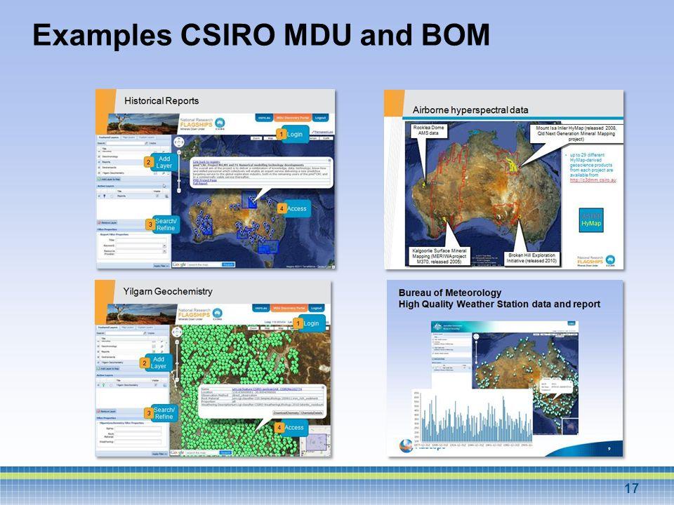 Examples CSIRO MDU and BOM