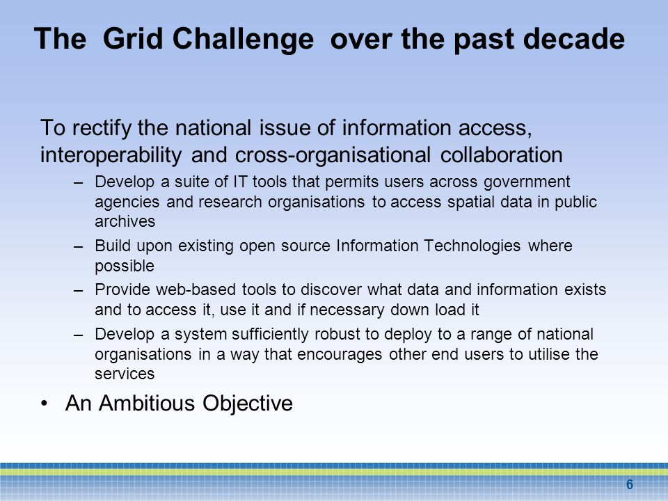 The Grid Challenge over the past decade