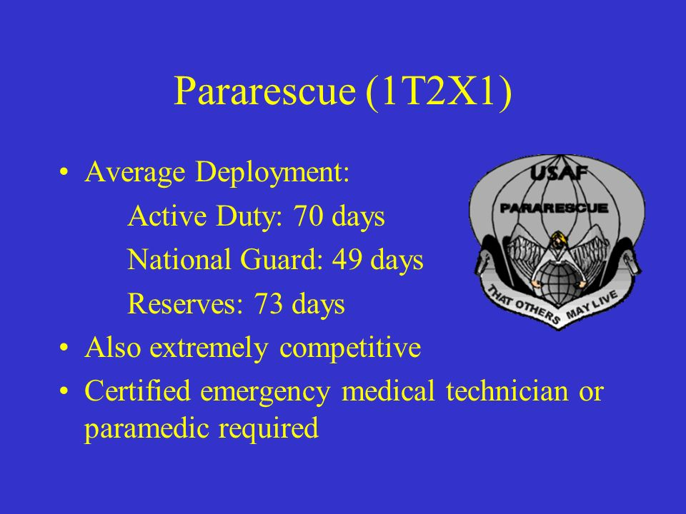 Pararescue (1T2X1) Average Deployment: Active Duty: 70 days