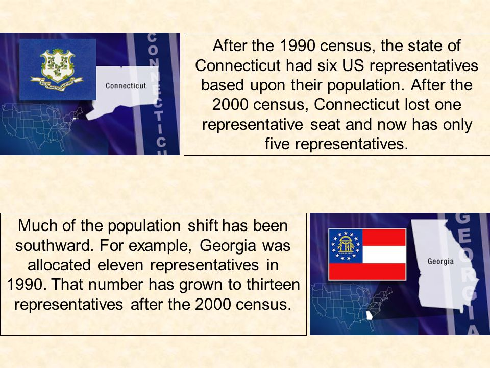 After the 1990 census, the state of Connecticut had six US representatives based upon their population. After the 2000 census, Connecticut lost one representative seat and now has only five representatives.