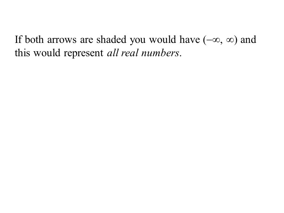 If both arrows are shaded you would have (∞, ∞) and