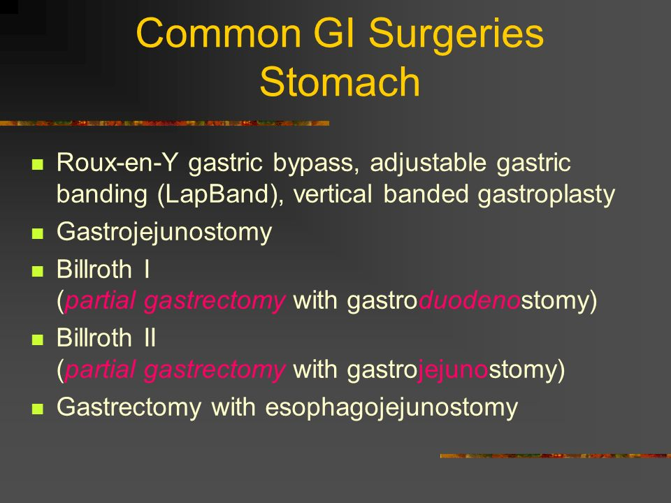 Common GI Surgeries Stomach