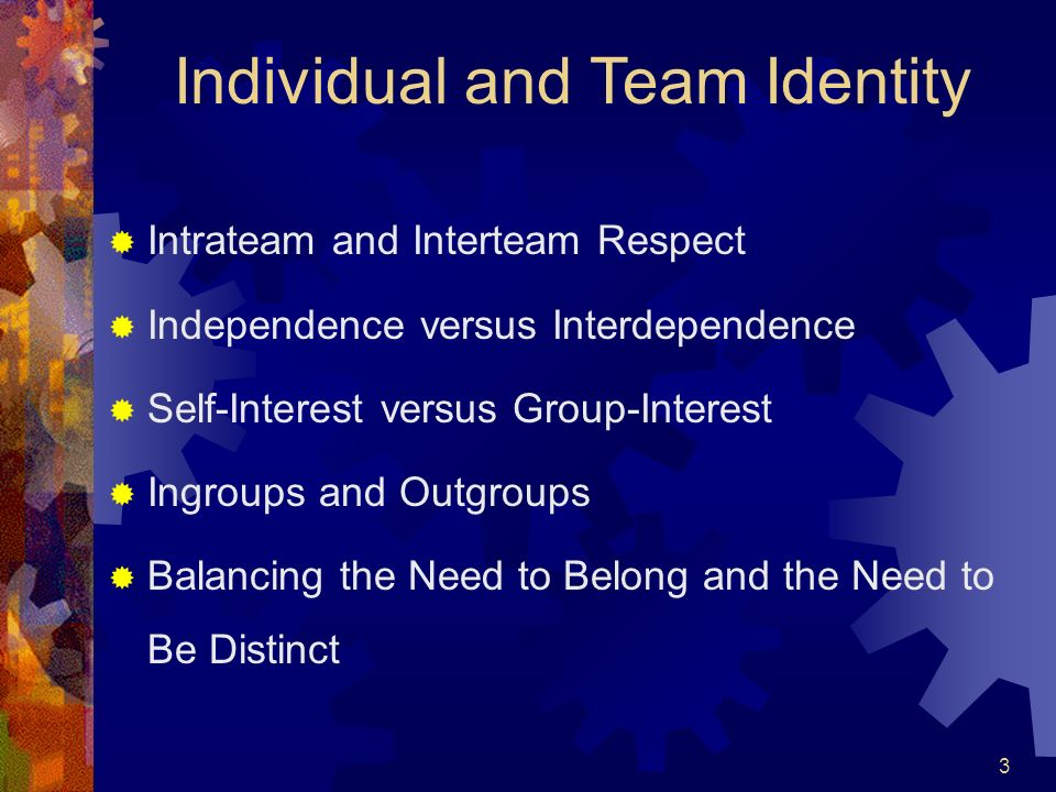 Individual and Team Identity