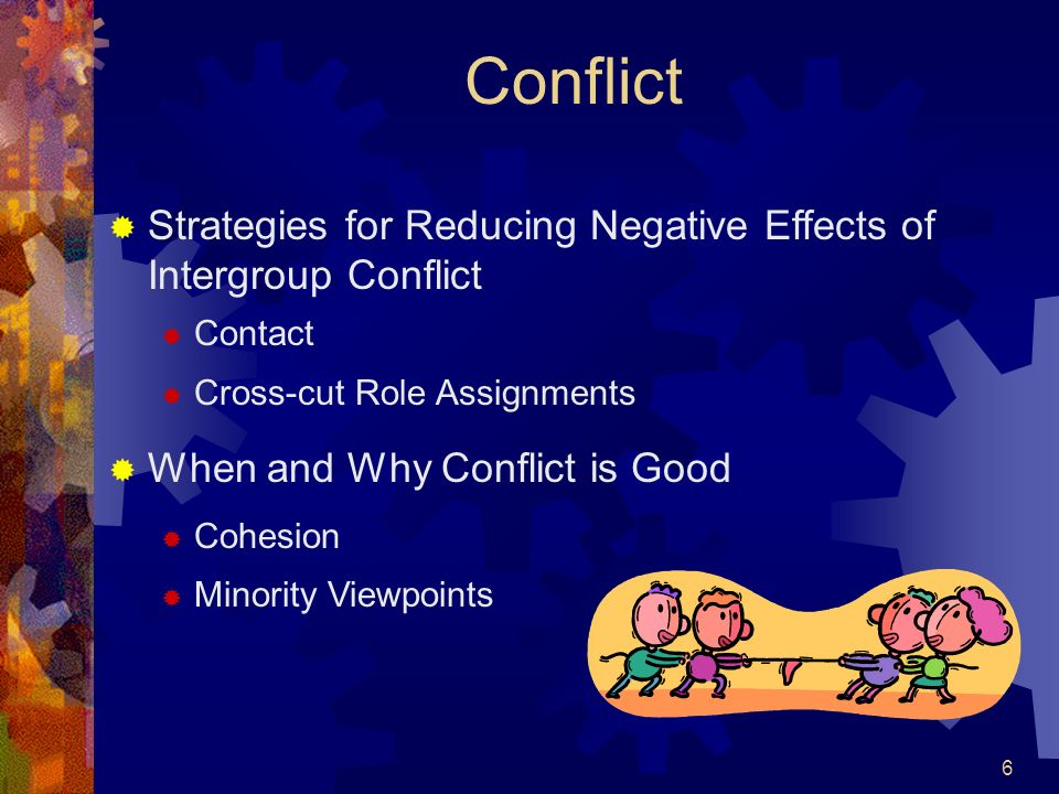 Conflict Strategies for Reducing Negative Effects of Intergroup Conflict. Contact. Cross-cut Role Assignments.