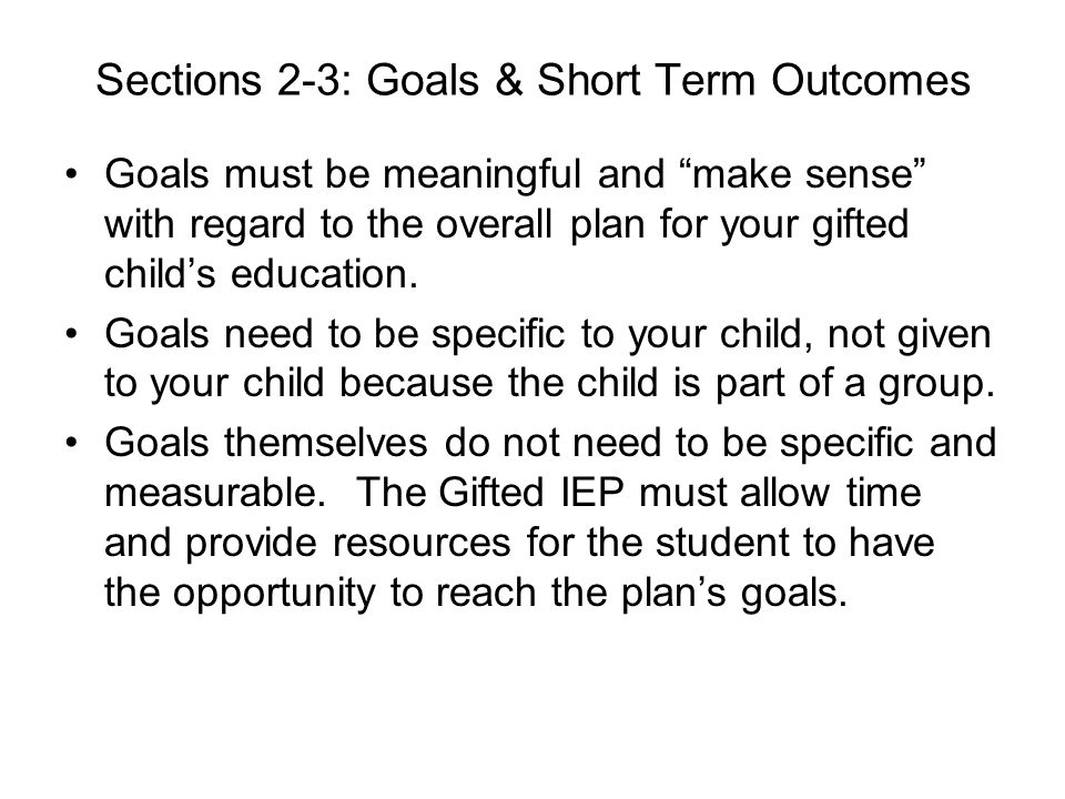 Sections 2-3: Goals & Short Term Outcomes