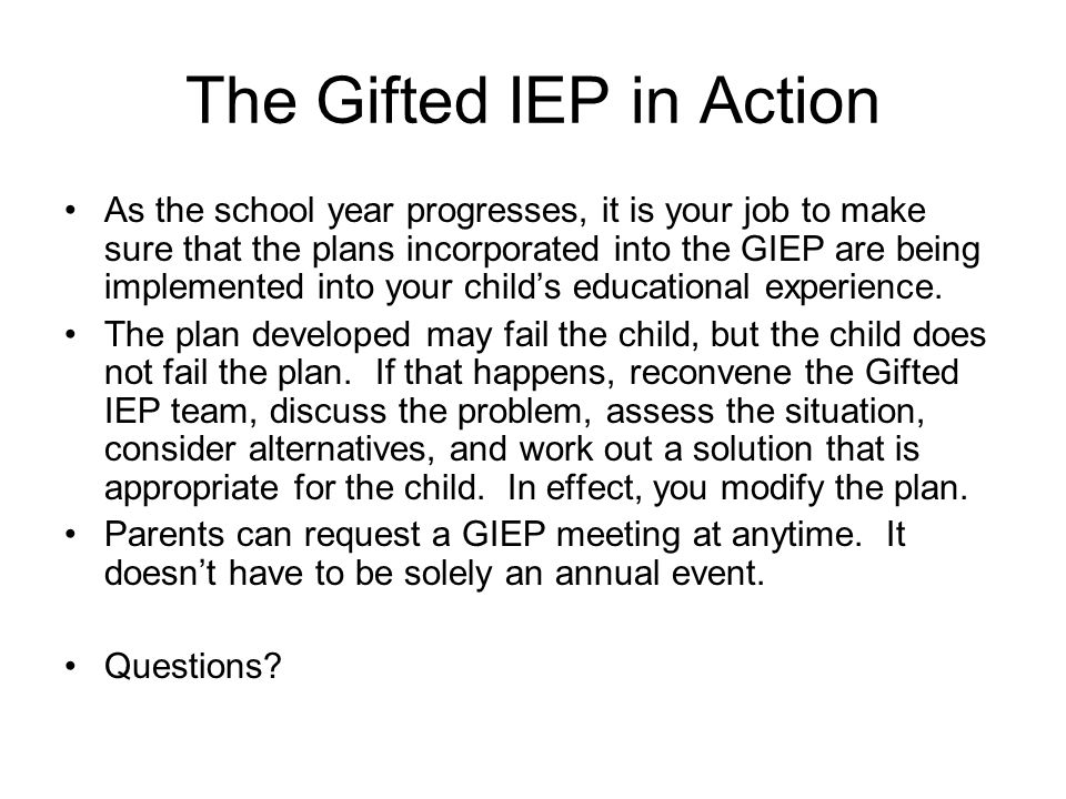 The Gifted IEP in Action